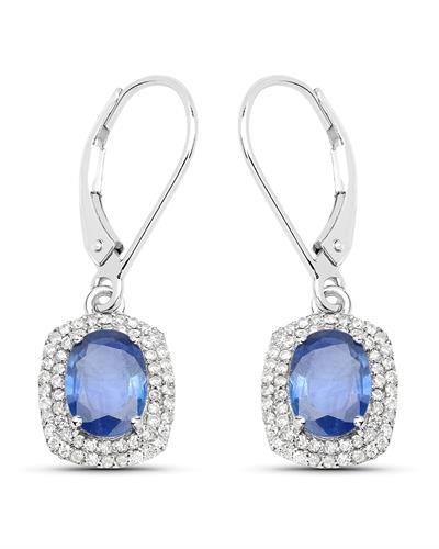Brand New Earring with 2.36ctw of Precious Stones - diamond and sapphire 14K White gold