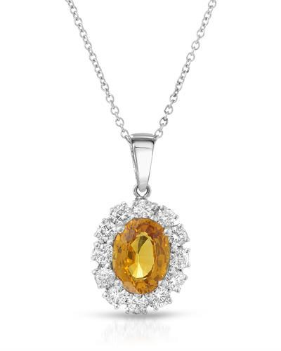 Lundstrom Brand New Necklace with 2.21ctw of Precious Stones - diamond and sapphire 14K White gold