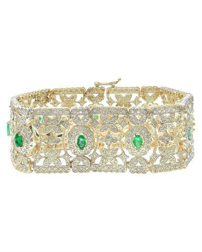 7.63 Carat Natural Emerald 14K Solid Yellow Gold Diamond Bracelet