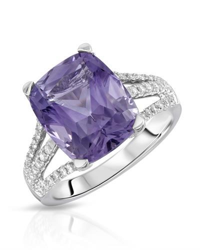 Lundstrom Brand New Ring with 5.43ctw of Precious Stones - amethyst and diamond 14K White gold