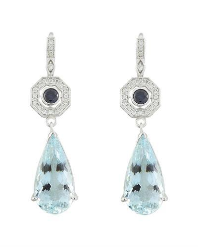 21.50 Carat Aquamarine Sapphire 14K White Gold Diamond Earrings