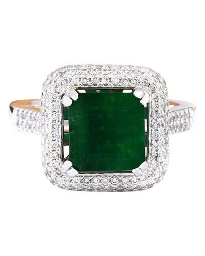 4.33 Carat Natural Emerald 14K Solid White Gold Diamond Ring