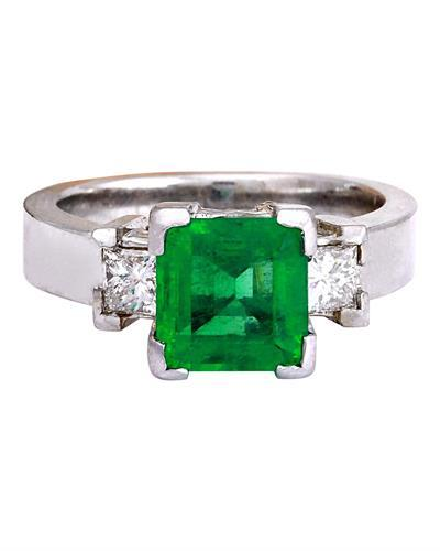 4.00 Carat Natural Emerald 14K Solid White Gold Diamond Ring
