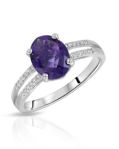 Magnolia Brand New Ring with 1.85ctw of Precious Stones - amethyst and diamond 14K White gold