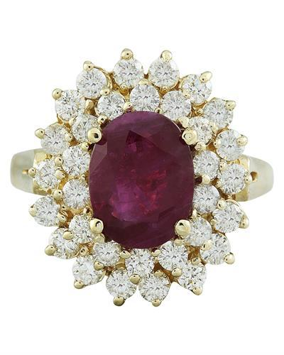 3.53 Carat Ruby 14K Yellow Gold Diamond Ring