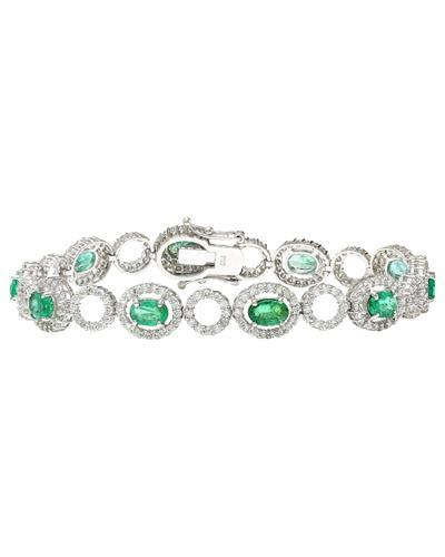 6.98 Carat Natural Emerald 14K Solid White Gold Diamond Bracelet