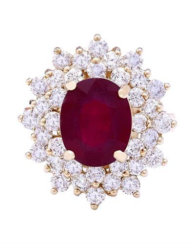 6.30 Carat Natural Ruby 14K Solid Yellow Gold Diamond Ring