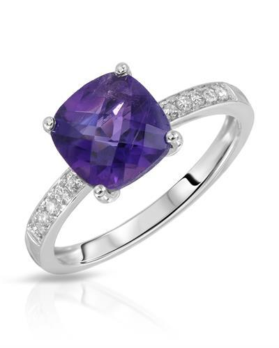 Magnolia Brand New Ring with 2.25ctw of Precious Stones - amethyst and diamond 14K White gold