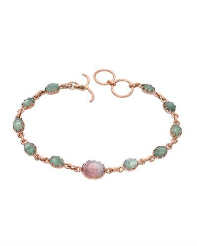 Brand New Bracelet with 12.06ctw of Precious Stones - emerald and tourmaline 10K/925 Rose Gold plated Silver