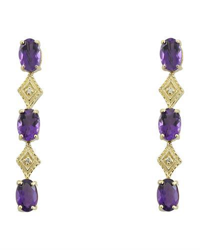 2.65 Carat Amethyst 14K Yellow Gold Diamond Earrings