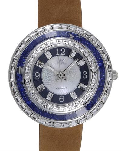 Adee Kaye AK9707-LBU Brand New Japan Quartz Watch with 0ctw of Precious Stones - crystal and mother of pearl