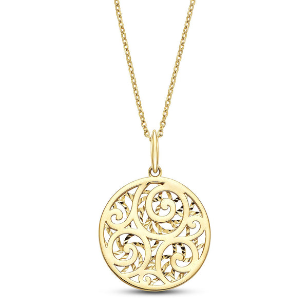 SeChic Brand New Medallion Pendant Necklace in 14K Yellow Gold