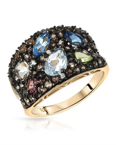 Lundstrom Brand New Ring with 4.56ctw of Precious Stones - amethyst, peridot, sapphire, topaz, topaz, topaz, and tourmaline 10K Yellow gold