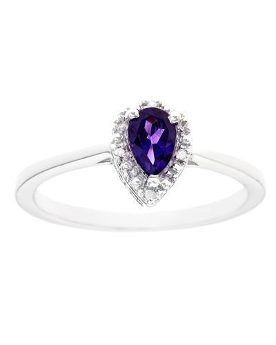 Brand New Ring with 0.36ctw of Precious Stones - amethyst and diamond 925 Silver sterling silver