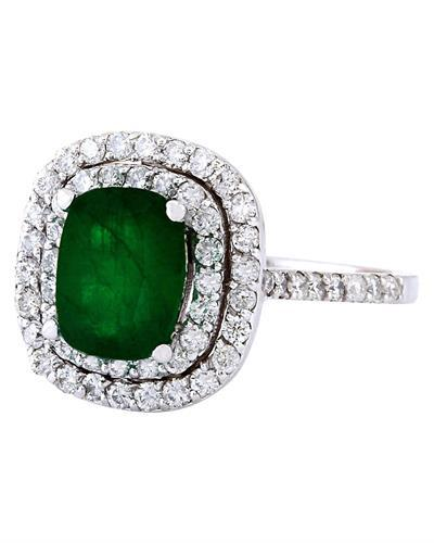 2.99 Carat Natural Emerald 14K Solid White Gold Diamond Ring