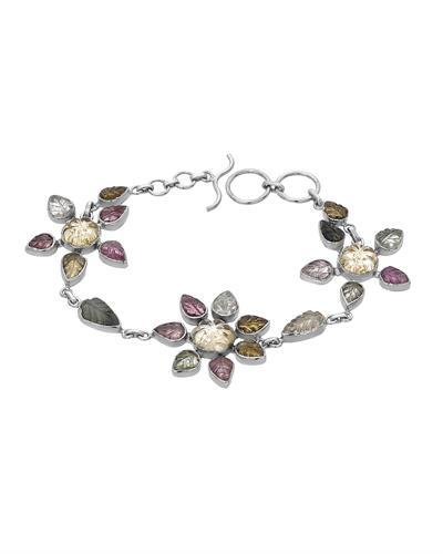 Brand New Bracelet with 19.88ctw of Precious Stones - citrine and tourmaline 925 Silver sterling silver