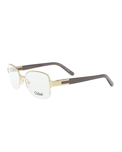 Chloe CE2119 744 Brand New Eyeglasses  Gold metal and  Grey plastic
