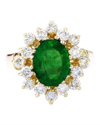 2.54 Carat Natural Emerald 14K Solid Yellow Gold Diamond Ring