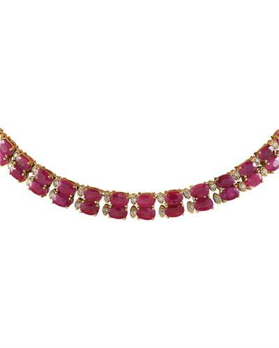 64.30 Carat Ruby 14K Yellow Gold Diamond Necklace