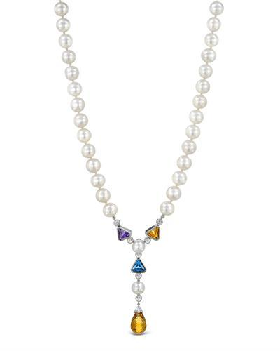 PEARL LUSTRE Brand New Necklace with 8.65ctw of Precious Stones - amethyst, citrine, citrine, diamond, pearl, and topaz 14K White gold
