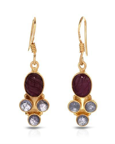Brand New Earring with 5.8ctw of Precious Stones - ruby and tanzanite 10K/925 Yellow Gold plated Silver