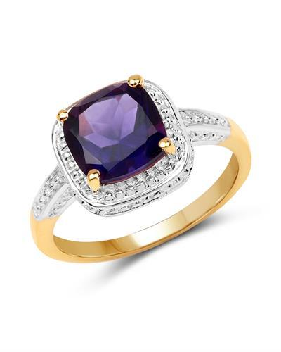 Brand New Ring with 1.8ctw amethyst 14K/925 Yellow Gold plated Silver