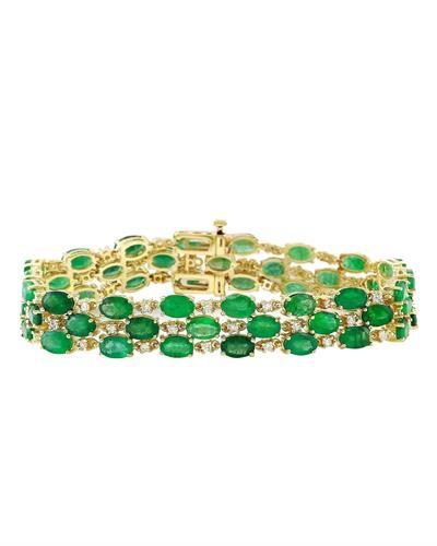 25.25 Carat Natural Emerald 14K Solid Yellow Gold Diamond Bracelet