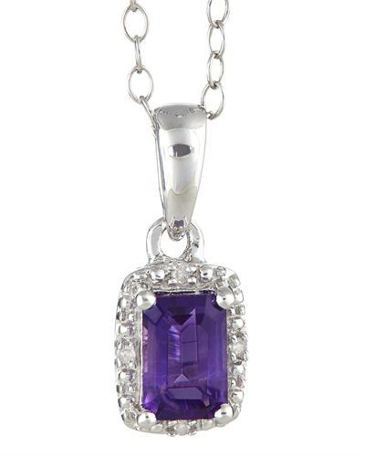 Brand New Necklace with 0.56ctw of Precious Stones - amethyst and diamond 925 Silver sterling silver