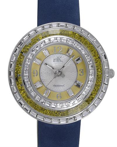 Adee Kaye AK9707-LYW Brand New Japan Quartz Watch with 0ctw of Precious Stones - crystal and mother of pearl