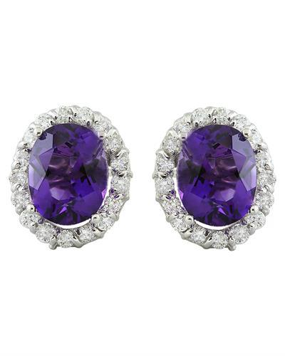 3.79 Carat Amethyst 14K White Gold Diamond Earrings