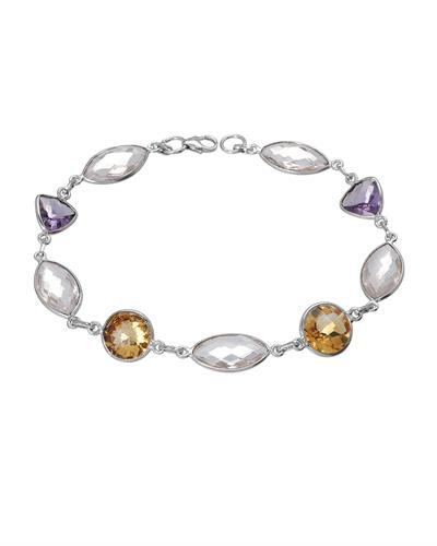 Brand New Bracelet with 28.25ctw of Precious Stones - amethyst, citrine, and quartz 925 Silver sterling silver