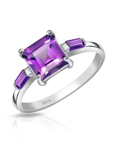 Brand New Ring with 2.1ctw of Precious Stones - amethyst and amethyst 925 Silver sterling silver