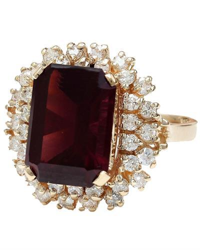 9.35 Carat Natural Tourmaline 14K Solid Rose Gold Diamond Ring