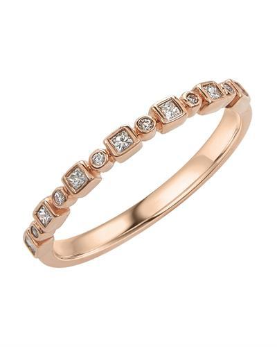 Brand New Ring with 0.16ctw of Precious Stones - diamond and diamond 14K Rose gold