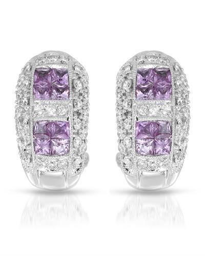 Lundstrom Brand New Earring with 1.8ctw of Precious Stones - diamond and sapphire 18K White gold