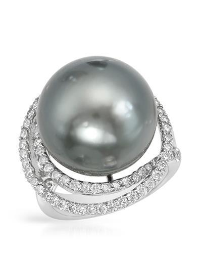 Brand New Ring with 1.05ctw of Precious Stones - diamond and pearl 18K White gold