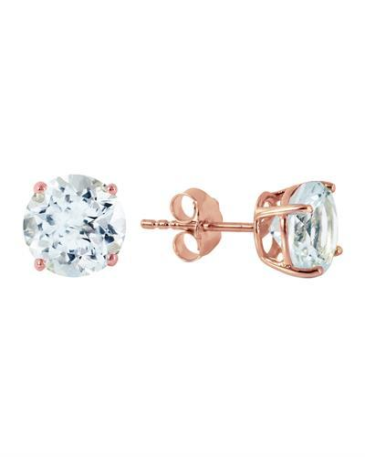 Magnolia Brand New Earring with 3.1ctw aquamarine 14K Rose gold