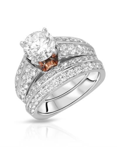 Brand New Ring with 0ctw cubic zirconia  Two tone alloy