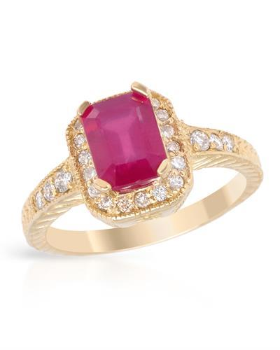 Brand New Ring with 2.31ctw of Precious Stones - diamond and ruby 14K Yellow gold