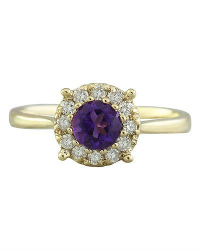 0.72 Carat Amethyst 14K Yellow Gold Diamond Ring