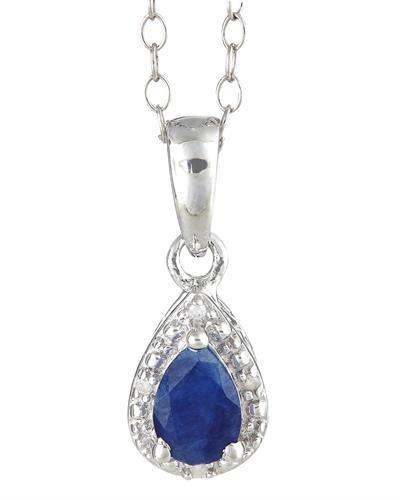 Brand New Necklace with 0.46ctw of Precious Stones - diamond and sapphire 925 Silver sterling silver