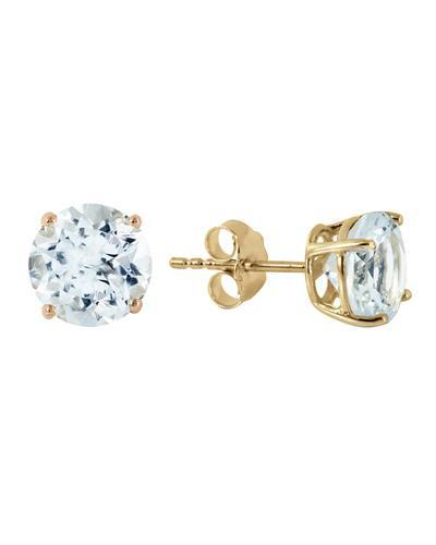 Magnolia Brand New Earring with 3.1ctw aquamarine 14K Yellow gold
