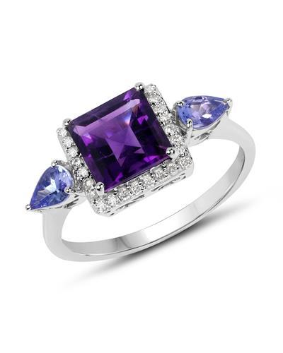Brand New Ring with 2.07ctw of Precious Stones - amethyst, diamond, and tanzanite 10K White gold