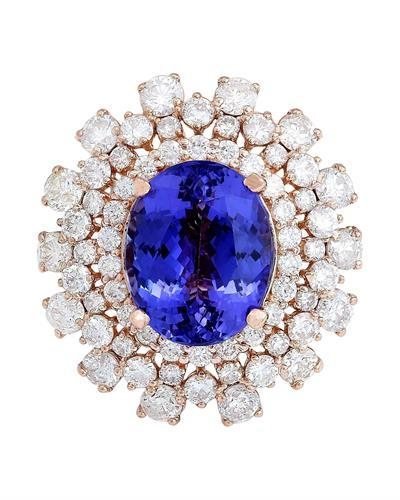 13.27 Carat Natural Tanzanite 14K Solid Rose Gold Diamond Ring