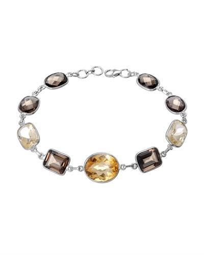 Brand New Bracelet with 29.51ctw of Precious Stones - citrine and quartz 925 Silver sterling silver