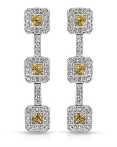 Lundstrom Brand New Earring with 2.07ctw of Precious Stones - diamond and sapphire 14K White gold