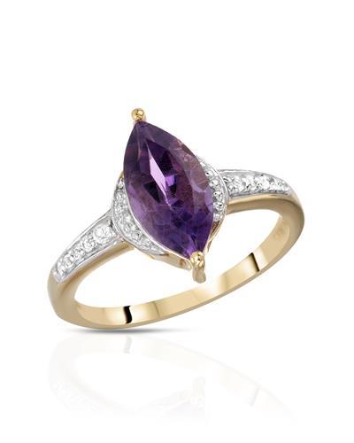 Brand New Ring with 1.45ctw of Precious Stones - amethyst and topaz 14K/925 Yellow Gold plated Silver