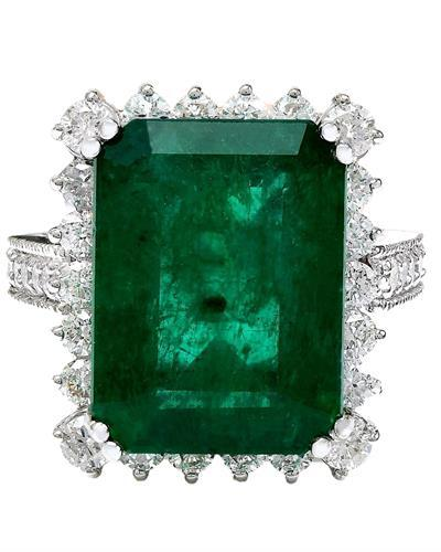 11.13 Carat Natural Emerald 14K Solid White Gold Diamond Ring