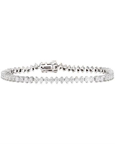 4.20 Carat Natural Diamond 14K Solid White Gold Bracelet