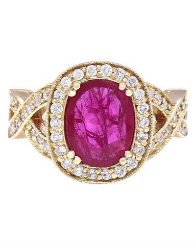 2.85 Carat Natural Ruby 14K Solid Yellow Gold Diamond Ring